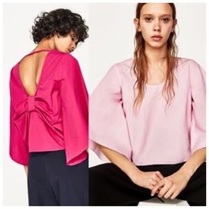 Zara Flare Sleeve Open Back Bow Detail Blouse